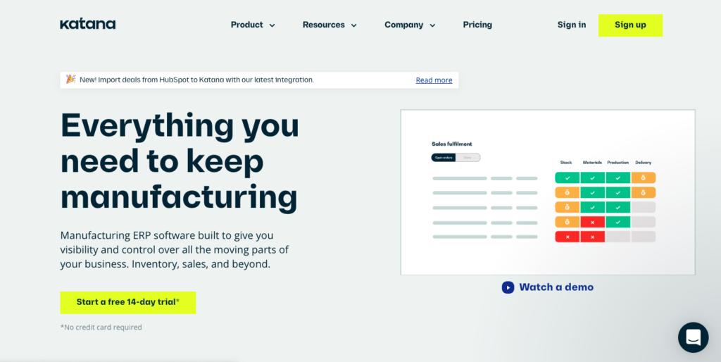 Katana Manufacturing ERP software