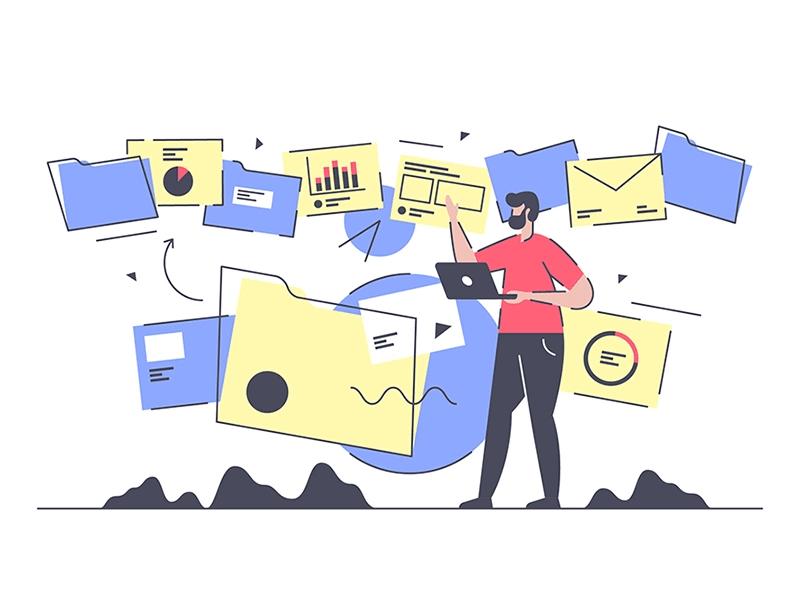 Document and data management illustration.