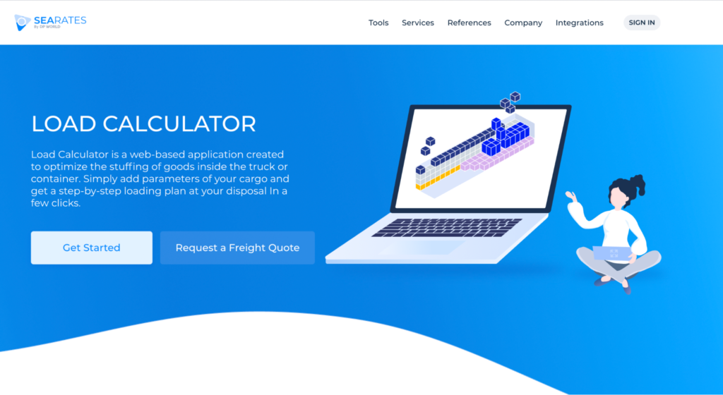 SeaRates Load Calculator - a web-based application created to optimize the stuffing of goods inside the truck or container