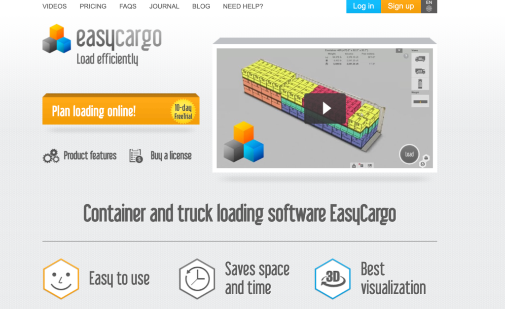 Container and truck loading software EasyCargo