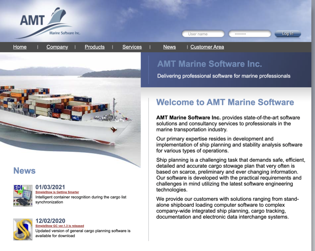 AMT Marine Software for marine professionals.