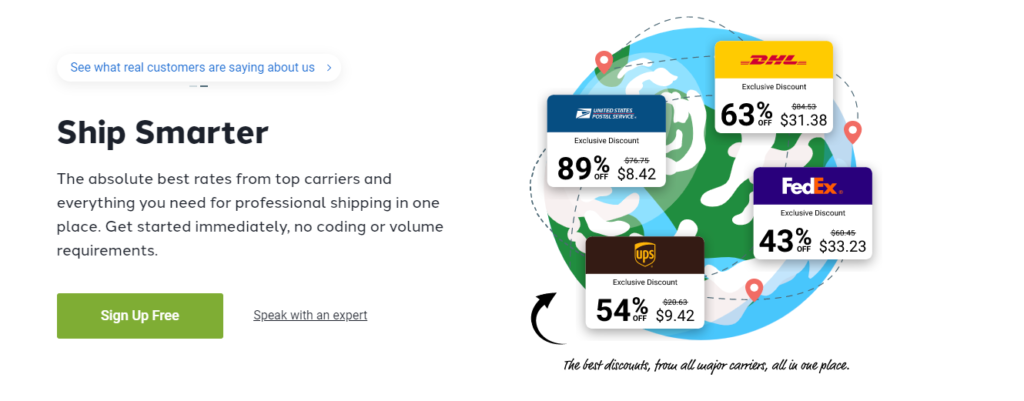 Shippo offers multiple integrations with parcel carriers