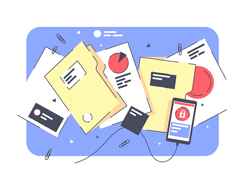 Document processing illustration.