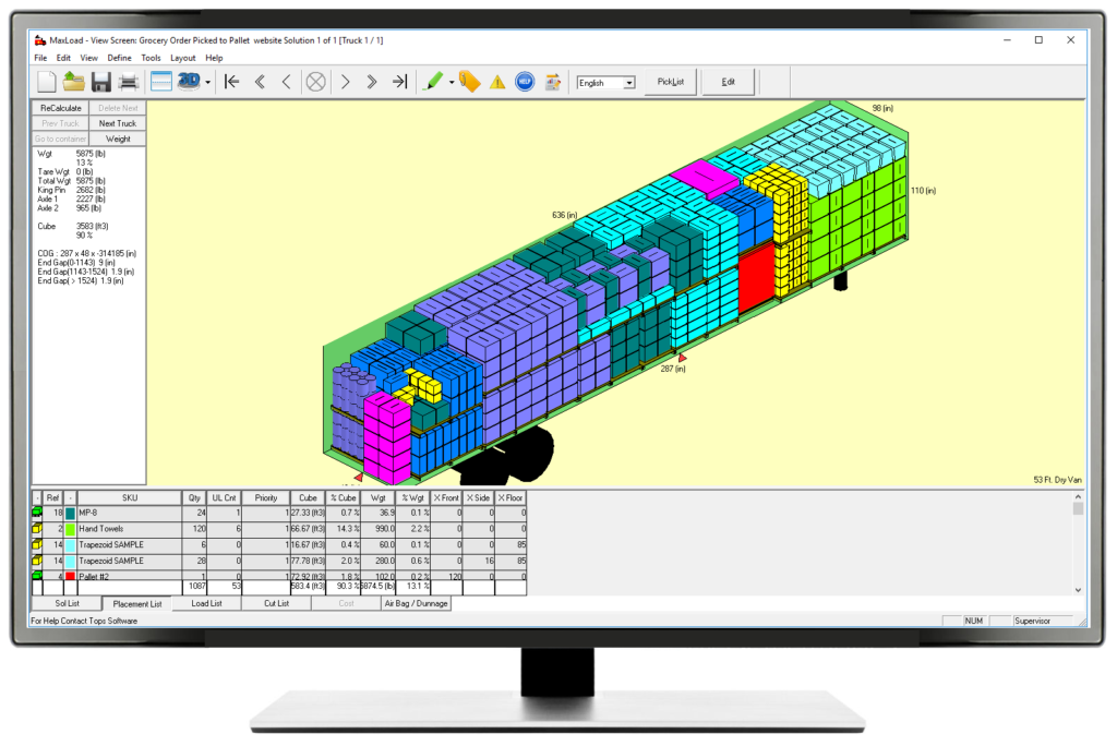 Mixed cargo load & cube optimization software for containers, trucks, and pallet loading