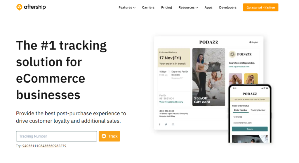 AfterShip promises the best tracking experience