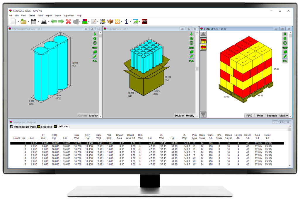 Packaging Design, Case Sizing and Pallet Layer Optimization Software