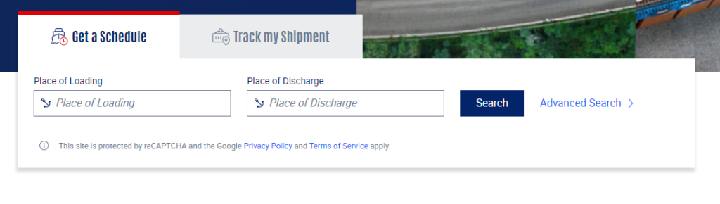 CMA CGM site has a simple search form